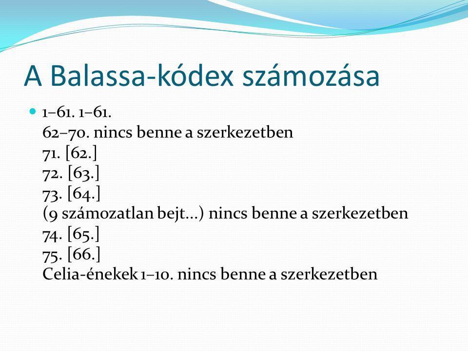 A Balassa-kódex számozása