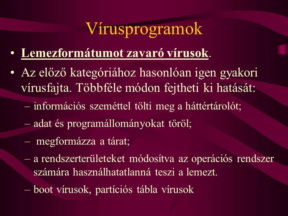 Vírusprogramok Lemezformátumot zavaró vírusok.