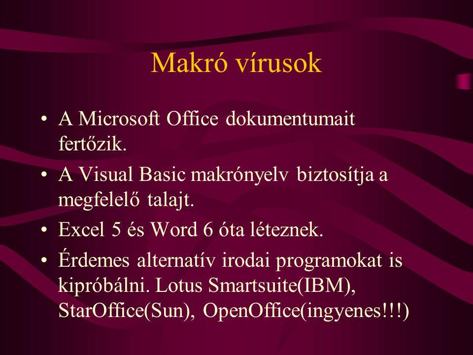 Makró vírusok A Microsoft Office dokumentumait fertőzik.