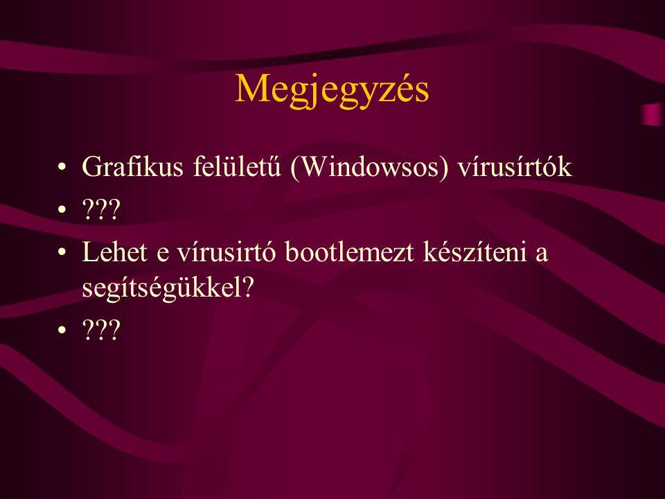 Megjegyzés Grafikus felületű (Windowsos) vírusírtók