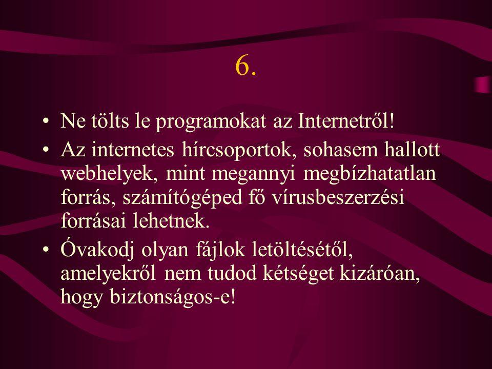 6. Ne tölts le programokat az Internetről!