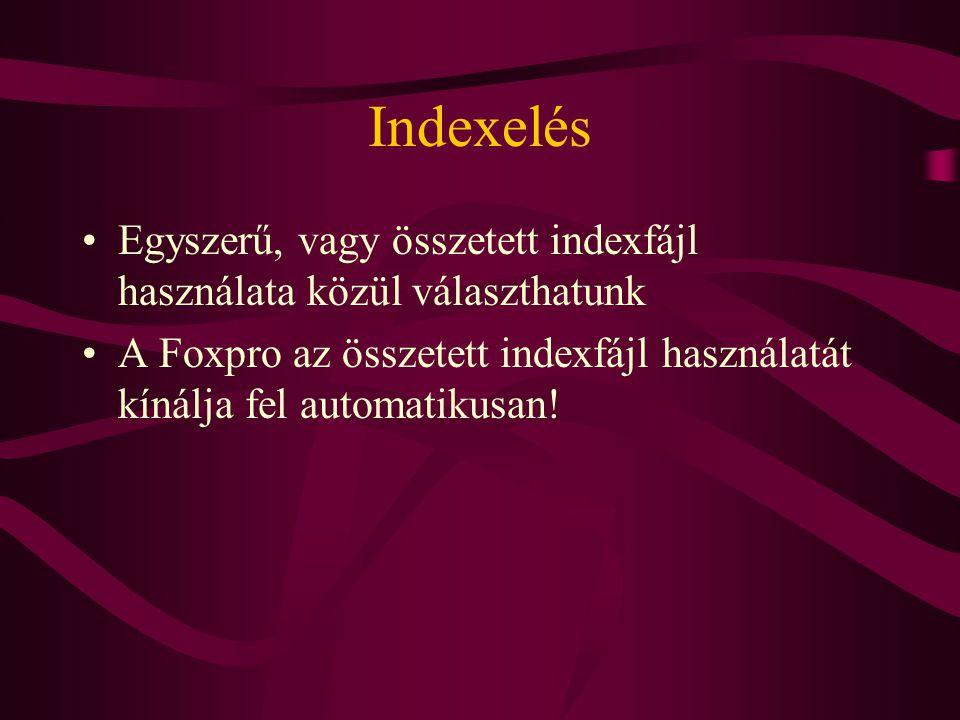 Indexelés Egyszerű, vagy összetett indexfájl használata közül választhatunk.