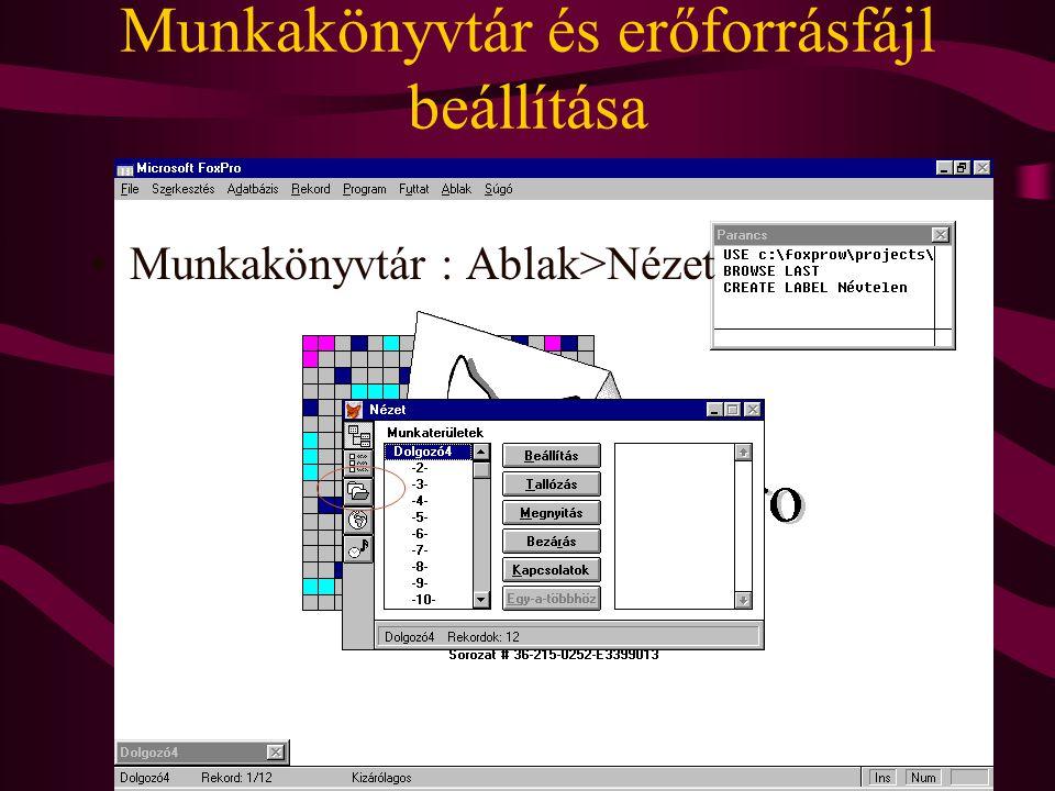 Munkakönyvtár és erőforrásfájl beállítása