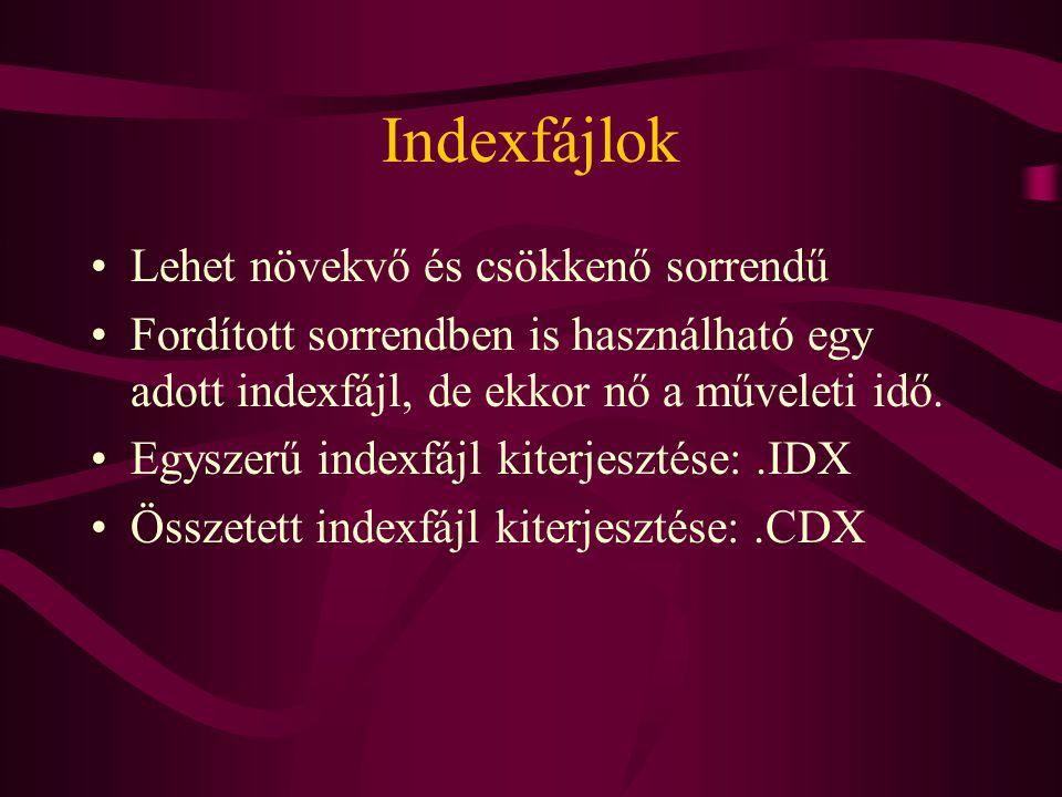 Indexfájlok Lehet növekvő és csökkenő sorrendű