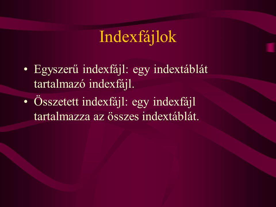 Indexfájlok Egyszerű indexfájl: egy indextáblát tartalmazó indexfájl.