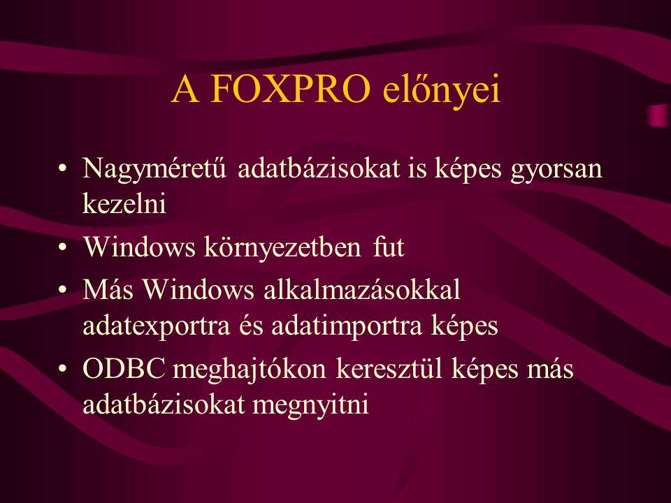 A FOXPRO előnyei Nagyméretű adatbázisokat is képes gyorsan kezelni