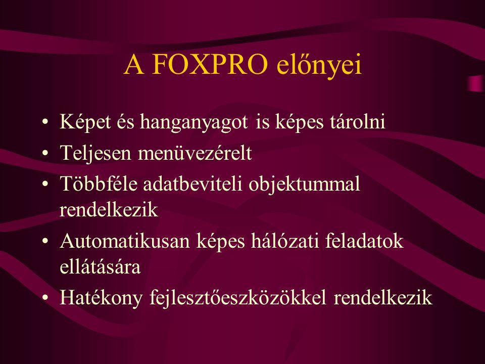 A FOXPRO előnyei Képet és hanganyagot is képes tárolni