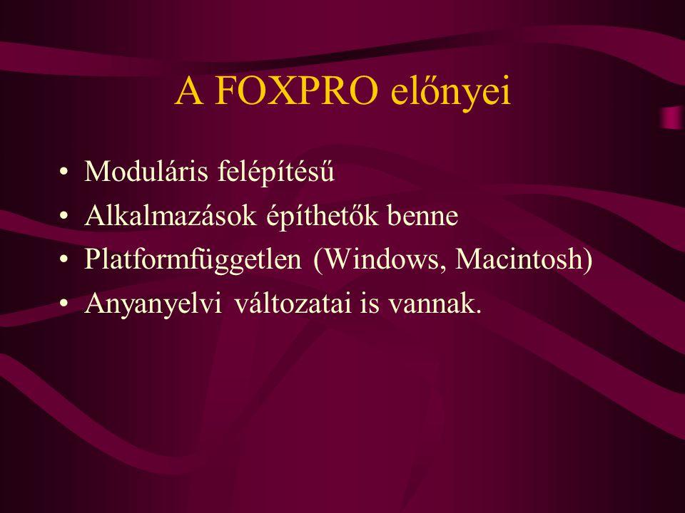 A FOXPRO előnyei Moduláris felépítésű Alkalmazások építhetők benne