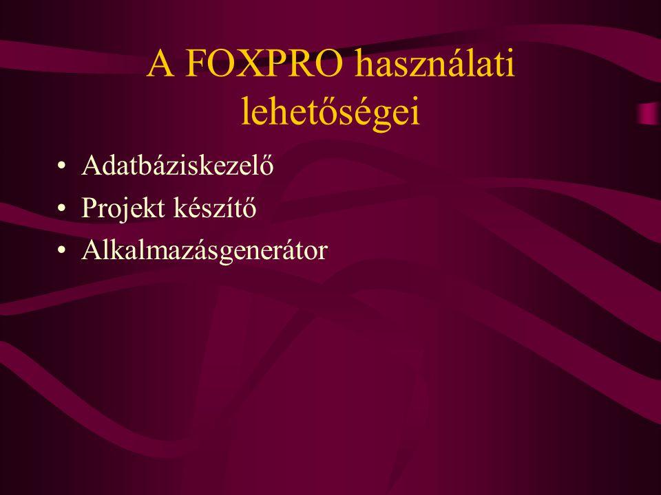 A FOXPRO használati lehetőségei