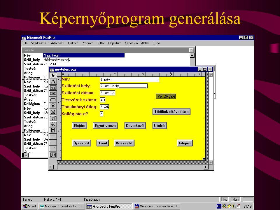 Képernyőprogram generálása