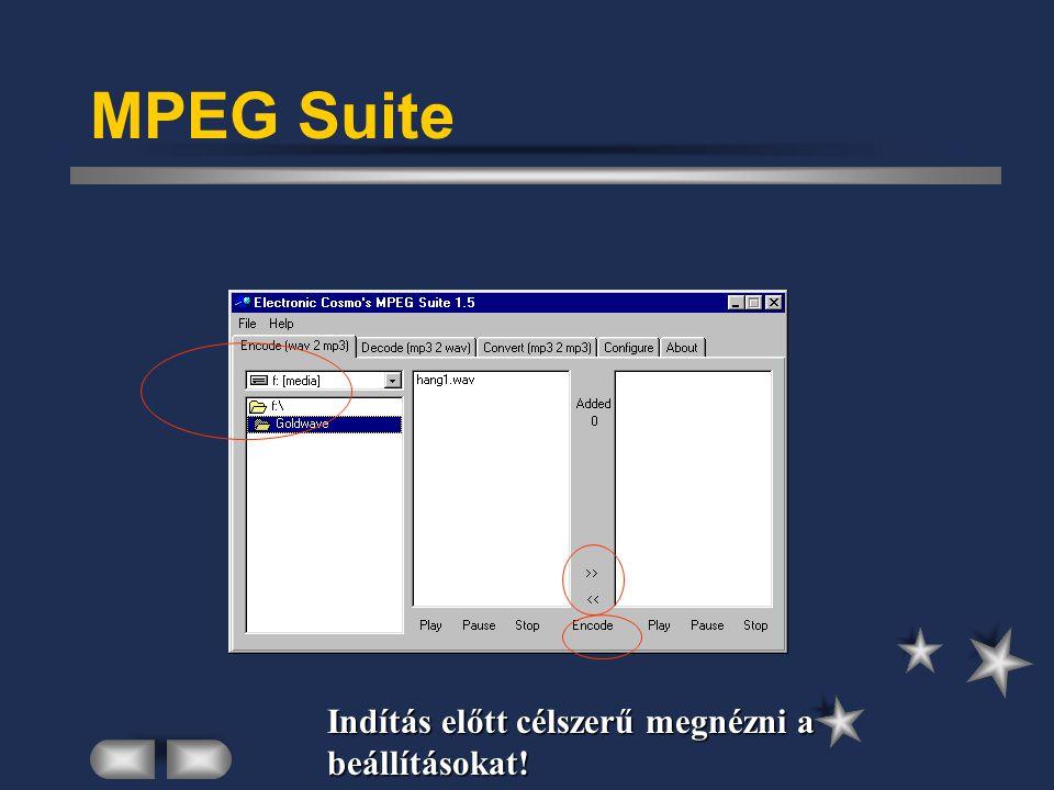 MPEG Suite Indítás előtt célszerű megnézni a beállításokat!