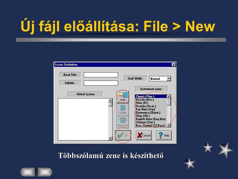 Új fájl előállítása: File > New