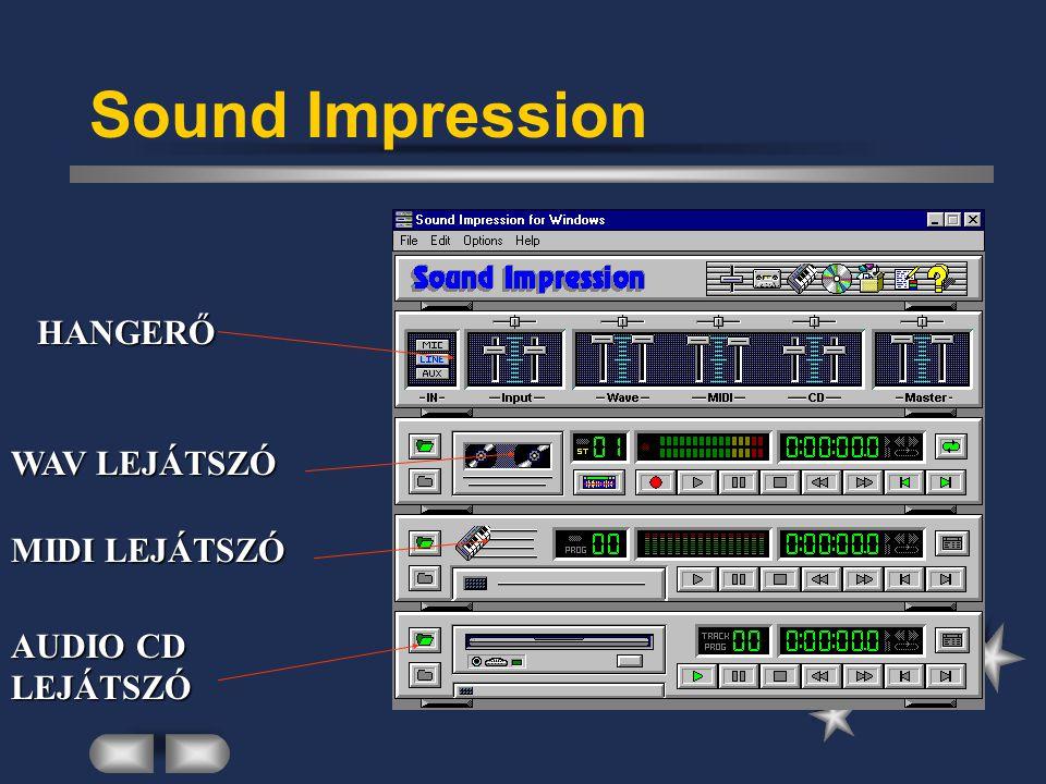 Sound Impression HANGERŐ WAV LEJÁTSZÓ MIDI LEJÁTSZÓ AUDIO CD LEJÁTSZÓ