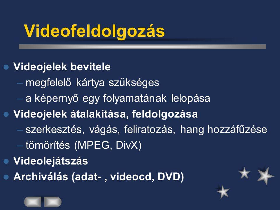 Videofeldolgozás Videojelek bevitele megfelelő kártya szükséges