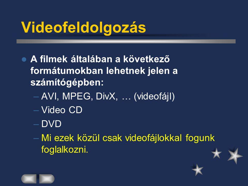 Videofeldolgozás A filmek általában a következő formátumokban lehetnek jelen a számítógépben: AVI, MPEG, DivX, … (videofájl)