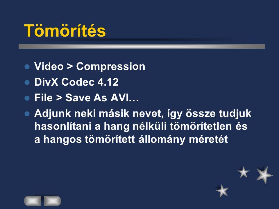 Tömörítés Video > Compression DivX Codec 4.12