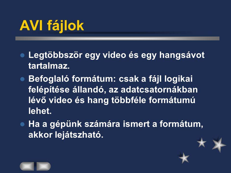 AVI fájlok Legtöbbször egy video és egy hangsávot tartalmaz.