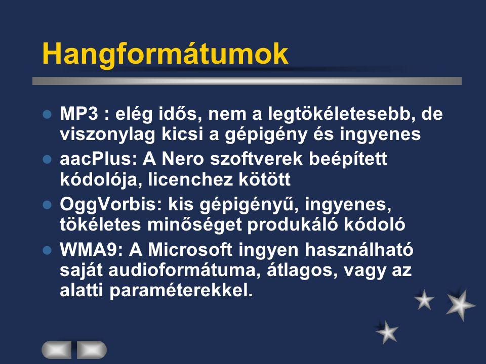 Hangformátumok MP3 : elég idős, nem a legtökéletesebb, de viszonylag kicsi a gépigény és ingyenes.