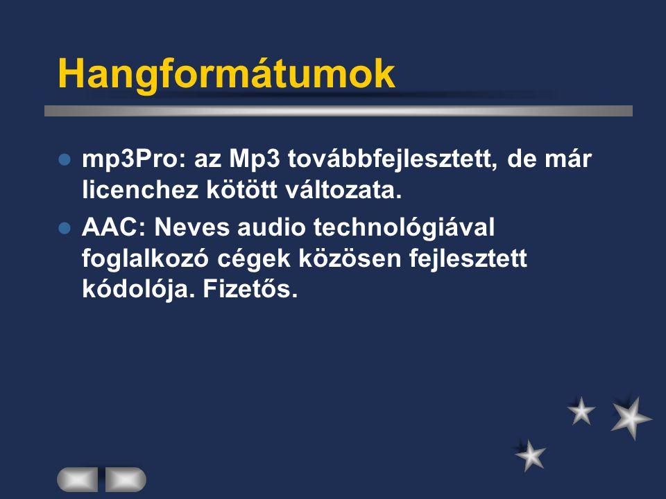 Hangformátumok mp3Pro: az Mp3 továbbfejlesztett, de már licenchez kötött változata.