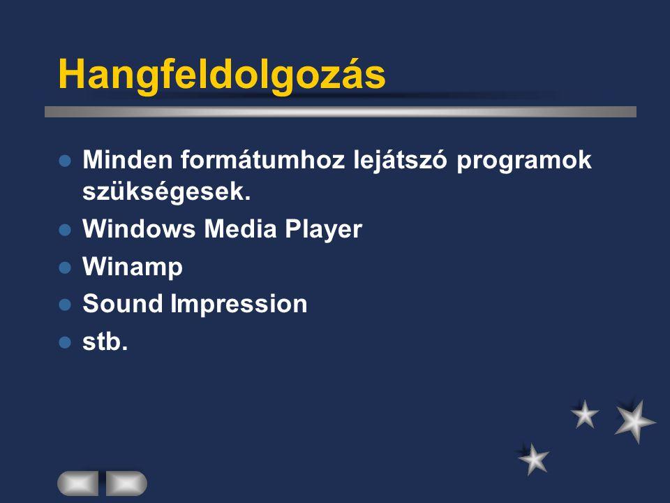 Hangfeldolgozás Minden formátumhoz lejátszó programok szükségesek.
