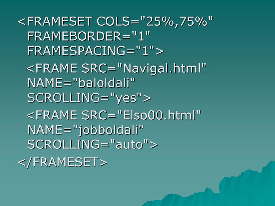 <FRAMESET COLS= 25%,75% FRAMEBORDER= 1 FRAMESPACING= 1 >