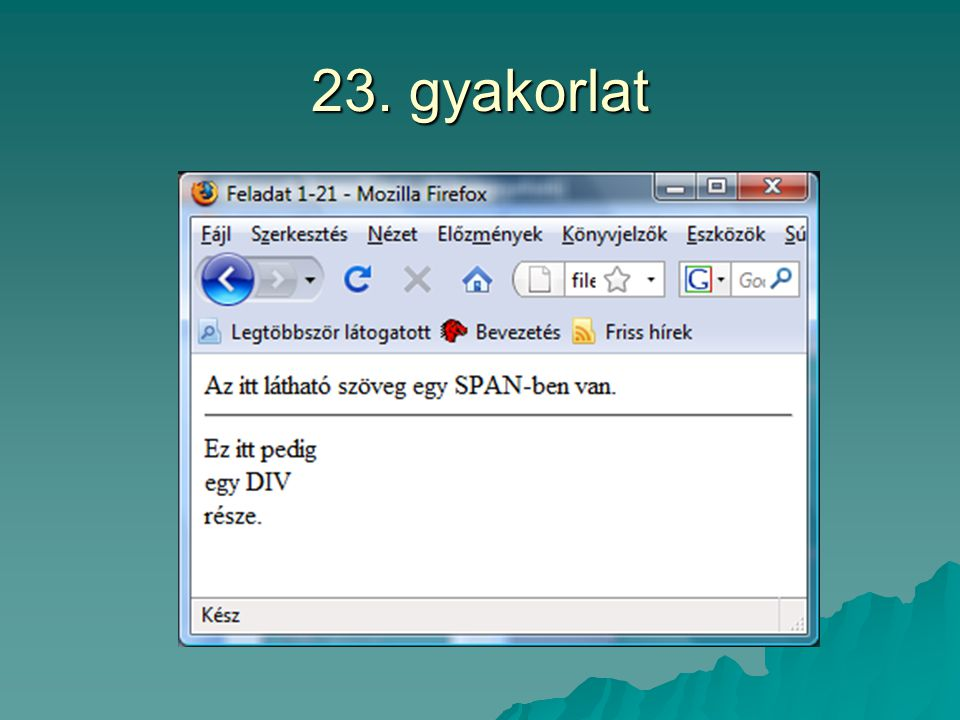 23. gyakorlat