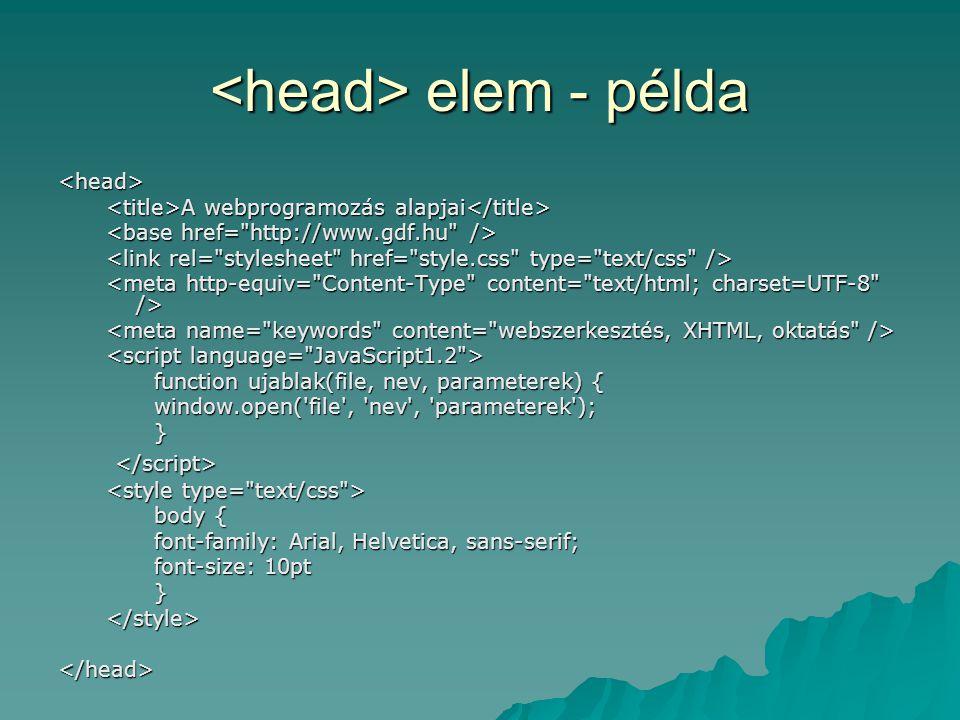 <head> elem - példa