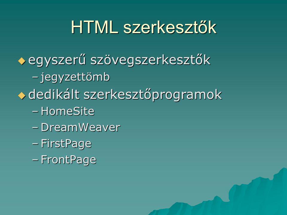 HTML szerkesztők egyszerű szövegszerkesztők