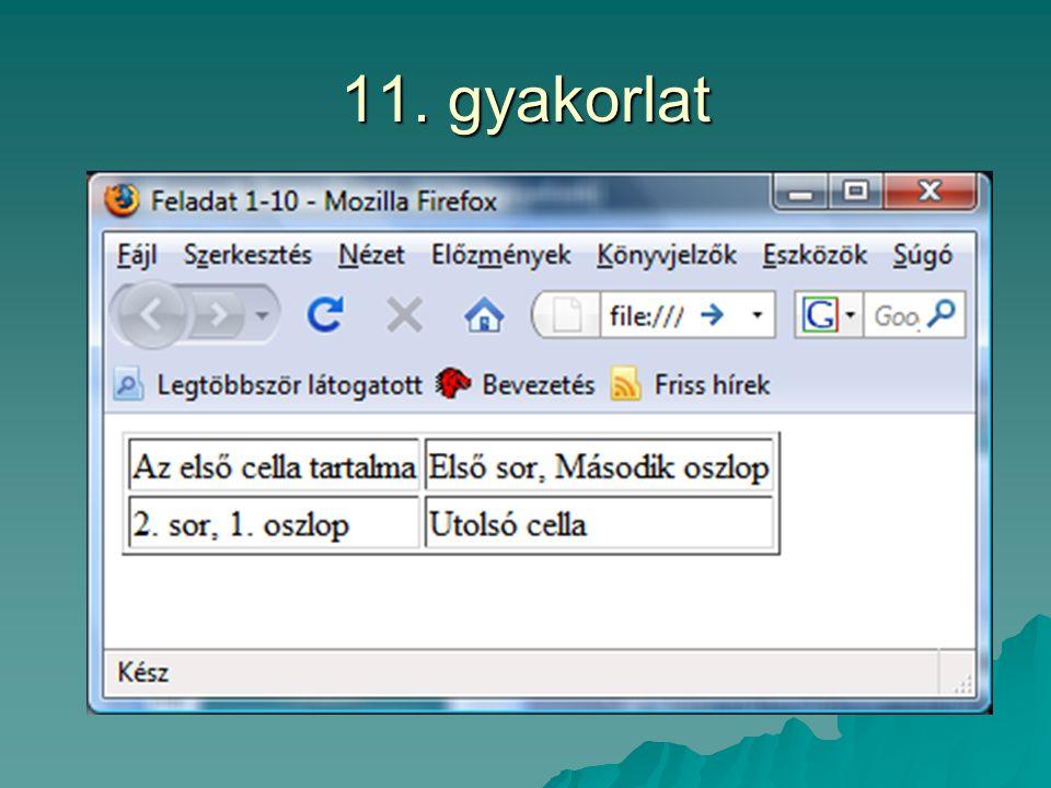 11. gyakorlat
