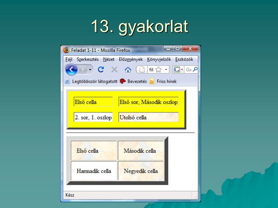 13. gyakorlat