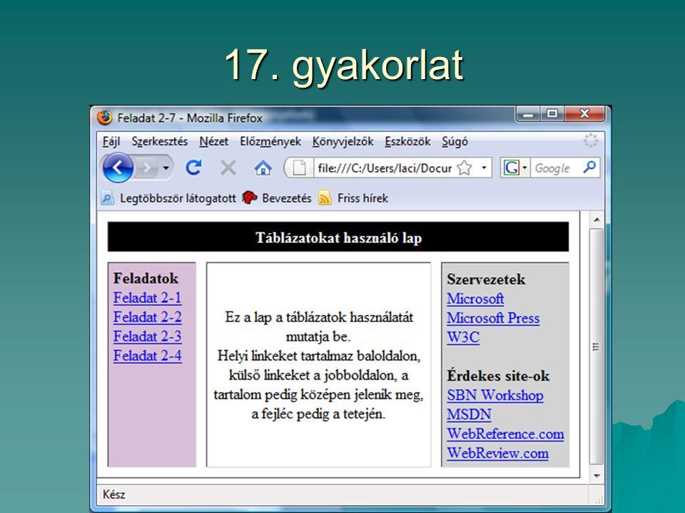 17. gyakorlat