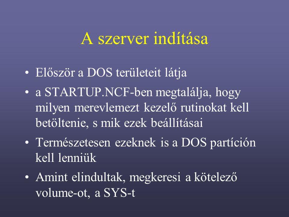 A szerver indítása Először a DOS területeit látja