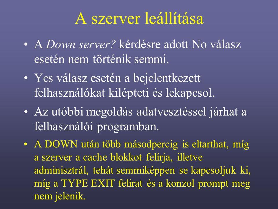 A szerver leállítása A Down server kérdésre adott No válasz esetén nem történik semmi.