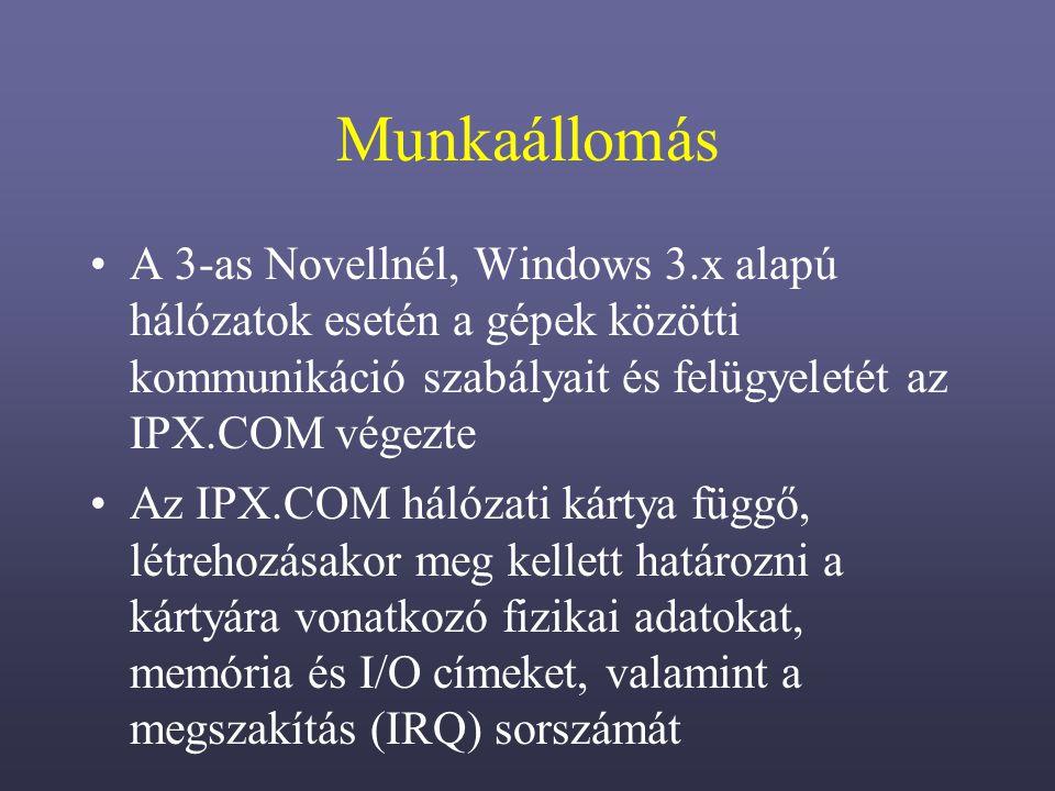 Munkaállomás A 3-as Novellnél, Windows 3.x alapú hálózatok esetén a gépek közötti kommunikáció szabályait és felügyeletét az IPX.COM végezte.