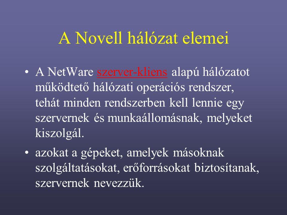 A Novell hálózat elemei
