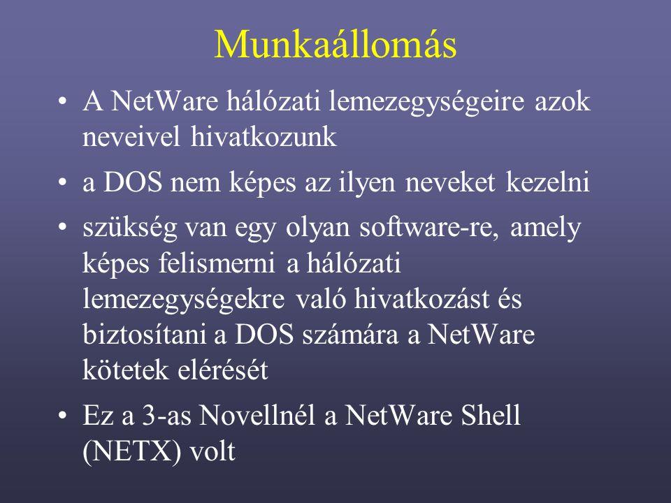 Munkaállomás A NetWare hálózati lemezegységeire azok neveivel hivatkozunk. a DOS nem képes az ilyen neveket kezelni.