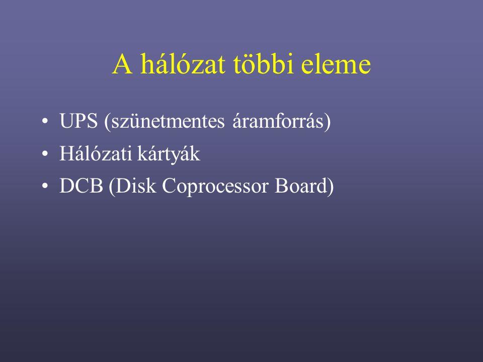 A hálózat többi eleme UPS (szünetmentes áramforrás) Hálózati kártyák
