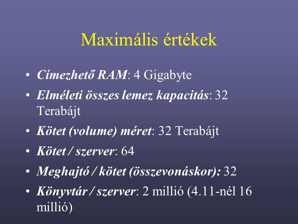 Maximális értékek Címezhető RAM: 4 Gigabyte