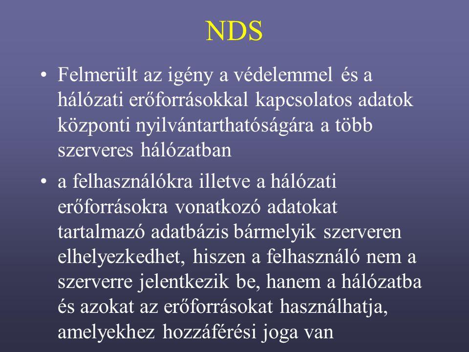 NDS Felmerült az igény a védelemmel és a hálózati erőforrásokkal kapcsolatos adatok központi nyilvántarthatóságára a több szerveres hálózatban.