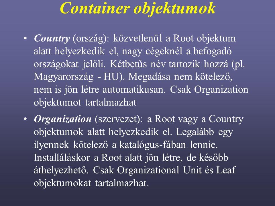 Container objektumok
