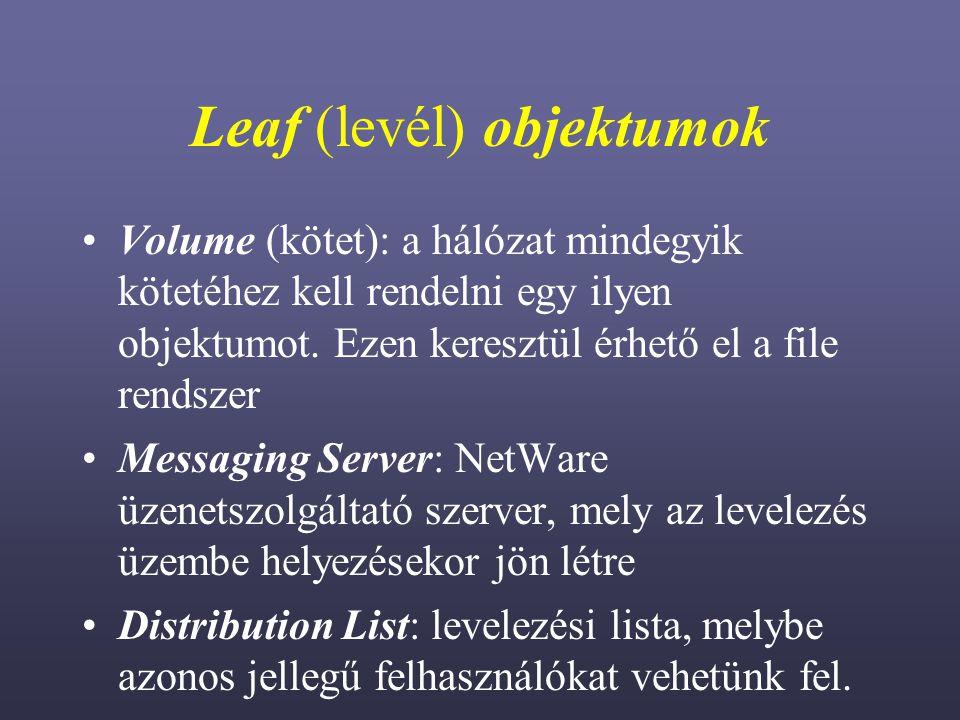 Leaf (levél) objektumok