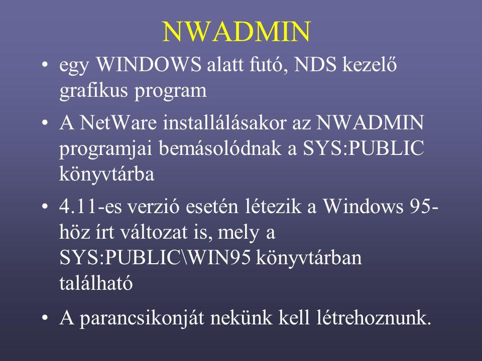 NWADMIN egy WINDOWS alatt futó, NDS kezelő grafikus program