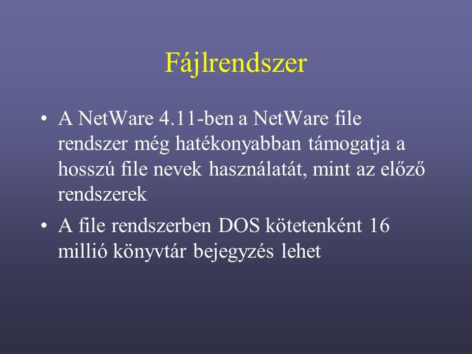 Fájlrendszer A NetWare 4.11-ben a NetWare file rendszer még hatékonyabban támogatja a hosszú file nevek használatát, mint az előző rendszerek.