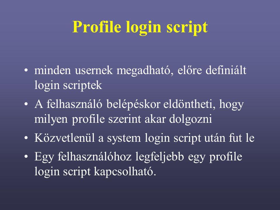 Profile login script minden usernek megadható, előre definiált login scriptek.