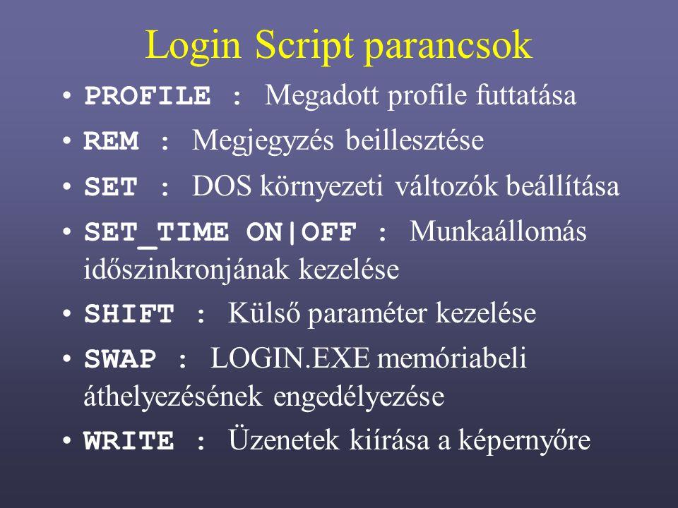 Login Script parancsok