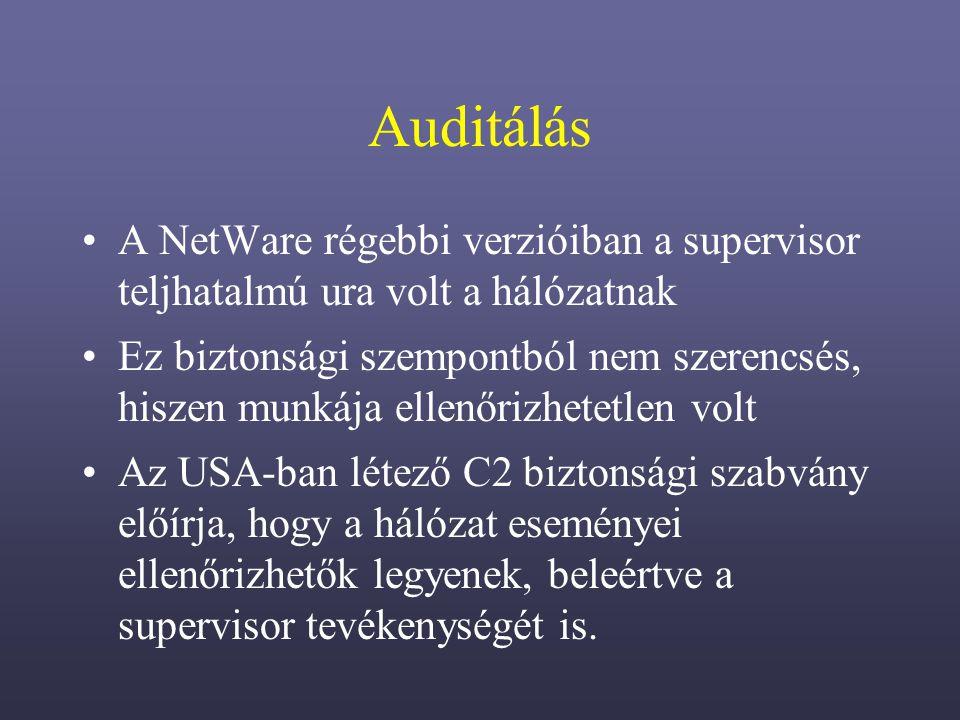 Auditálás A NetWare régebbi verzióiban a supervisor teljhatalmú ura volt a hálózatnak.
