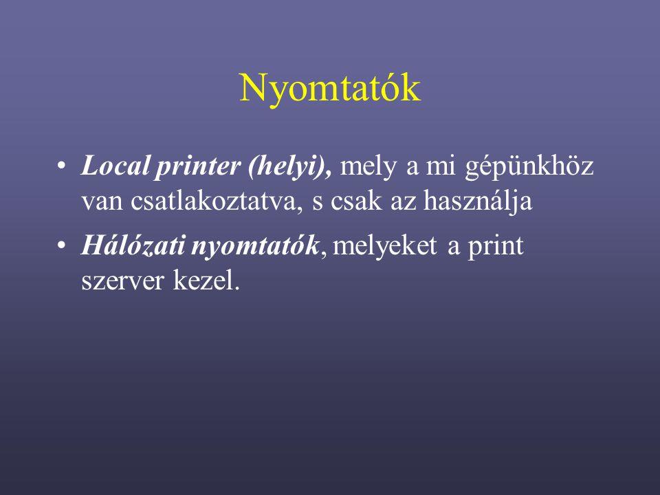 Nyomtatók Local printer (helyi), mely a mi gépünkhöz van csatlakoztatva, s csak az használja.