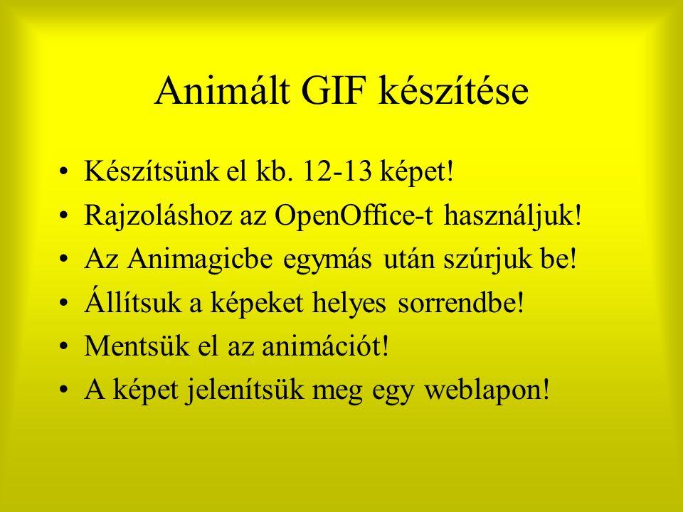 Animált GIF készítése Készítsünk el kb. 12-13 képet!