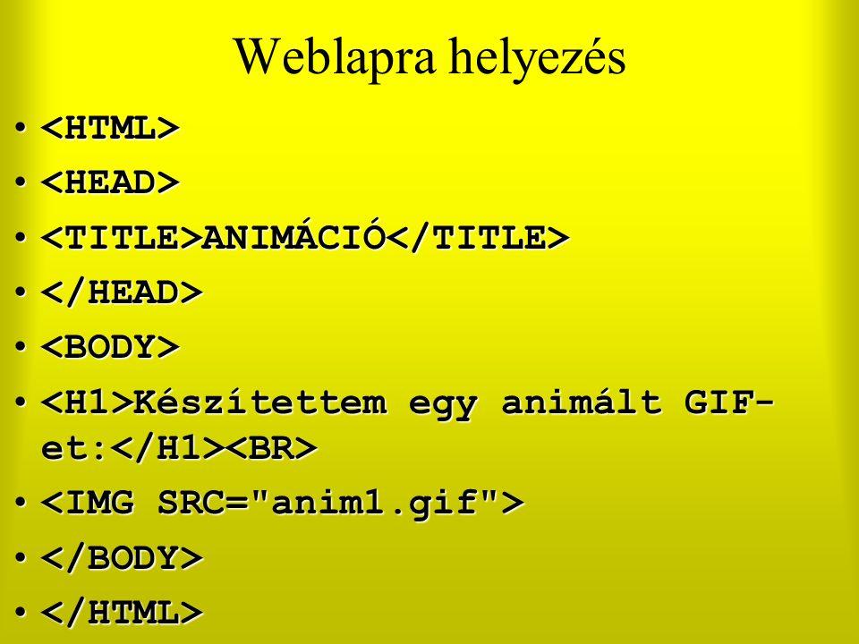 Weblapra helyezés <HTML> <HEAD>