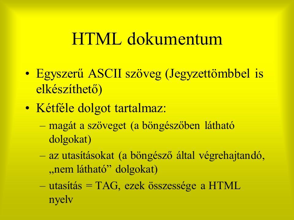 HTML dokumentum Egyszerű ASCII szöveg (Jegyzettömbbel is elkészíthető)